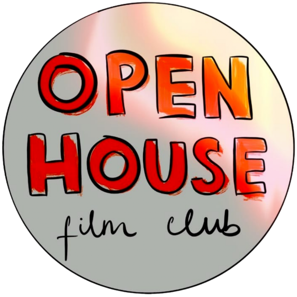 open house film club logo with a pink light leak on the top right side